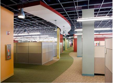 天花,多用于楼层不高,但建筑梁比较规矩的空间,因在有效包饰布线管道